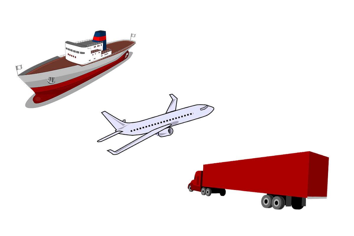 nave aereo e corriere, mezzi alternativi al trasporto in treno